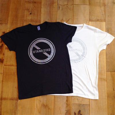 歌の事故 Tシャツ(銀ラメ) ブラック/ホワイト
