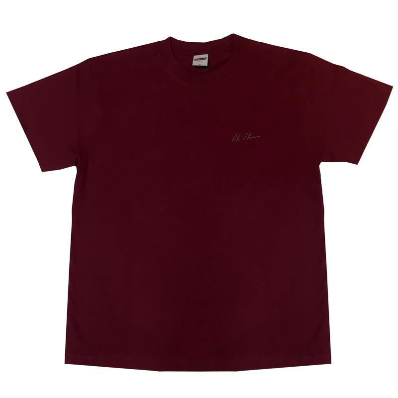 王舟 logo 刺繍 Tシャツ(バーガンディー)